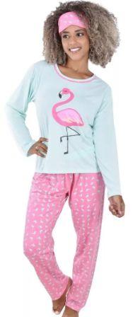 Pijama Adulto Flamingo Longo Feminino + Tapa Olho Brinde