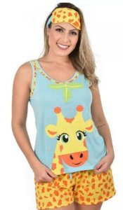 Baby Doll Mãe Adulto Girafa Pijama Curto + Tapa Olho