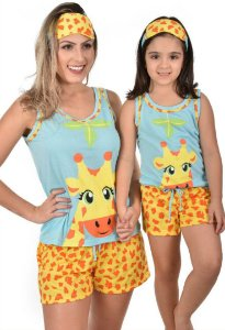 Kit 2 Baby Doll Mãe E Filha Girafa Pijama Curto + Tapa Olho