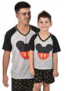 Pijama Adulto Pai Boy's Club Mickey Verão Curto
