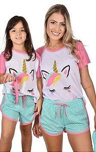 Kit 2 Pijamas Curtos Baby Doll Mãe E Filha Unicórnio Raglan