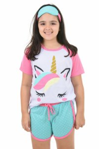 Pijama Curto Baby Doll Infantil Filha Unicórnio Raglan