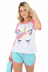 Pijama Curto Baby Doll Adulto Mãe Unicórnio Raglan