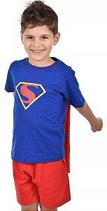 Pijama Curto Filho Infantil Super Homem Com Capa