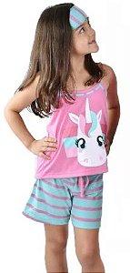 Pijama Curto Baby Doll Infantil Unicórnio  + Tapa Olho Brinde