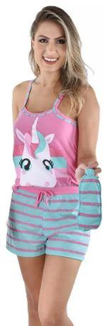 Pijama Curto Baby Doll Adulto Unicórnio + Tapa Olho Brinde
