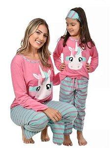 Kit 2 Pijamas  Longos Mãe E Filha Unicórnio + Tapa Olho