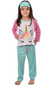 Pijama Longo Infantil Unicórnio Raglan Feminino Inverno