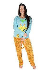 Pijama Longo Adulto Girafa Feminino Inverno