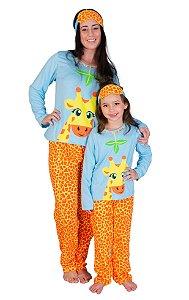 kit 2 Pijama Longo mãe e filha Girafa Feminino Inverno