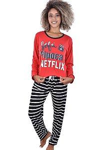 Pijama Netflix Longo Adulto Feminino