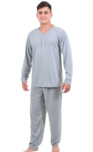 Pijama Masculino Bordado Liso Longo Adulto Malha