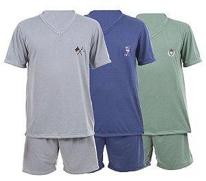 Pijama masculino malha adulto curto - 082 Cores sortidas