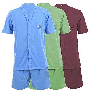 Pijama masculino malha curto detalhe botão - 084 cores sortidas