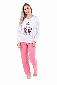 Pijama Longo Estampado Malha PP Feminino Adulto Manga LISA - CORES SORTIDAS