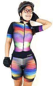 Macaquinho Ciclismo Listras Coloridas