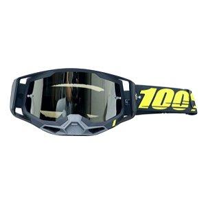 OCULOS 100% RACECRAFT 2 ARBIS PRETO / AMARELO LENTE ESPELHADA