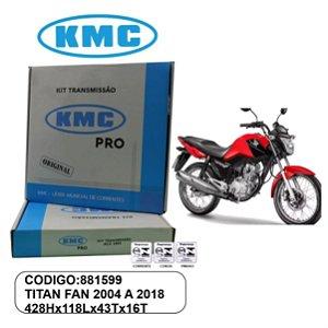 KIT TRANSMISSAO RELACAO KMC GOLD TITAN FAN 150 SPORT