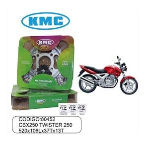 KIT TRANSMISSAO RELACAO KMC GOLD TWISTER 250