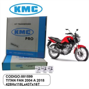 KIT TRANSMISSAO RELACAO KMC PRO HONDA TITAN 150