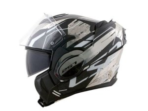 Capacete LS2 FF399 Valiant Roboto Black white chrome