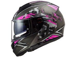 Capacete LS2 FF397 Vector Evo Stencil Matte Black  Pink