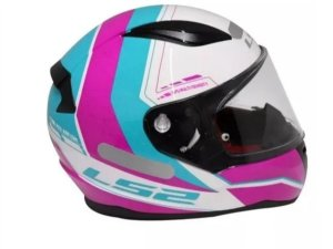 Capacete LS2 FF353 Rapid Candie White Pink Ligth Blue