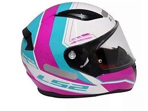 Capacete LS2 FF353 Rapid Candie White Pink Ligth Blue