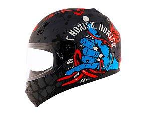 Capacete Norisk FF391 Zombie Matt Titanium Blue Red