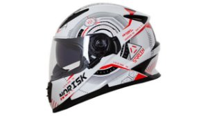 Capacete Norisk FF302 ScreenWhite Blaack Red