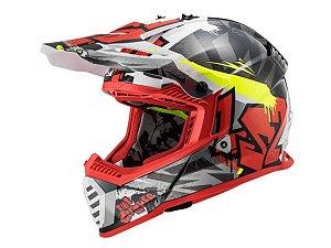 Capacete Ls2 MX437 Crusher Black Red