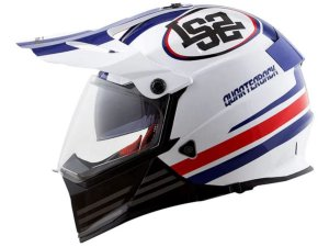 Capacete LS2 MX436 Pionner Quarterback White Red Blue