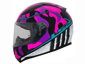 Capacete Ls2 Ff353 Rapid Bravado Pink Camo Blue