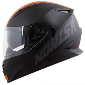 CAPACETE NORISK FF302 STONE MATTE BLACK / ORANGE