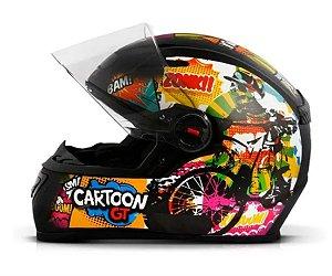 CAPACETE FW3 GT CARTOON PRETO FOSCO