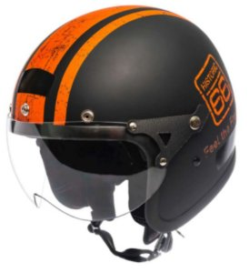 Capacete Kraft Old School Historic-66 Preto Fosco