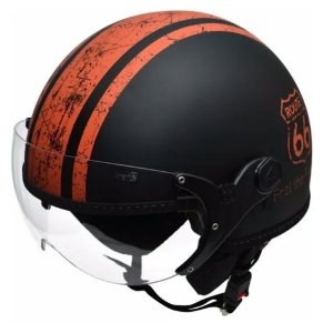 Capacete Kraft Plus Historic 66 Preto