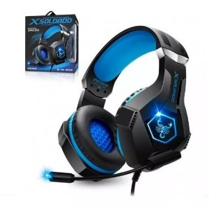 Headset Gamer Scorpion Com Fio Microfone Articulado e Led Rgb Azul - GH-X1000