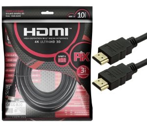 Cabo HDMI 10M 2.0 Gold 4k Ultra HD 3D Pix 018-2230
