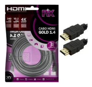 Cabo HDMI 10M 1.4 Gold Ultra HD 4K Pix 018-1014