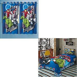 cortina avengers vingadores + jogo de cama 2 peças lepper