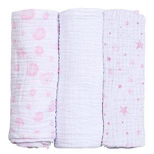 cueiro fralda de pano baby care papi soft 100 X 80 cm 3 und rosa