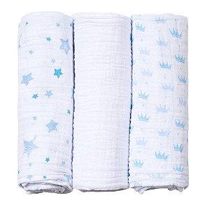Cueiro Fralda De Pano Baby Care Papi Soft 100 X 80 Cm 3 Und azul