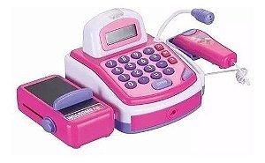 Caixa Registradora Infantil Com Microfone Rosa De Brinquedo