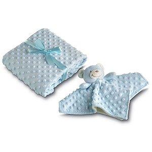 manta fleece dupla face com naninha azul lepper