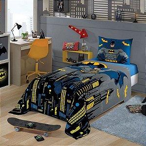 jogo de cama batman 2 peças lepper lençol e fronha gotham