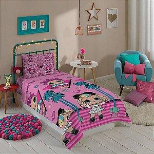 jogo de cama lol surprise microfibra 2 peças infantil lepper