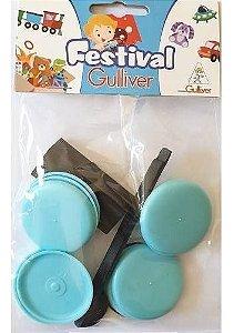 5 Pacotes De Futebol De Botão Bolão Gulliver - Azul Claro