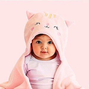 Mami Bichuus Cobertor Manta De Microfibra Com Capuz Bebê - Rosa