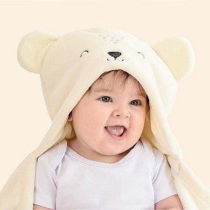 Mami Bichuus Cobertor Manta De Microfibra Com Capuz Bebê - Creme